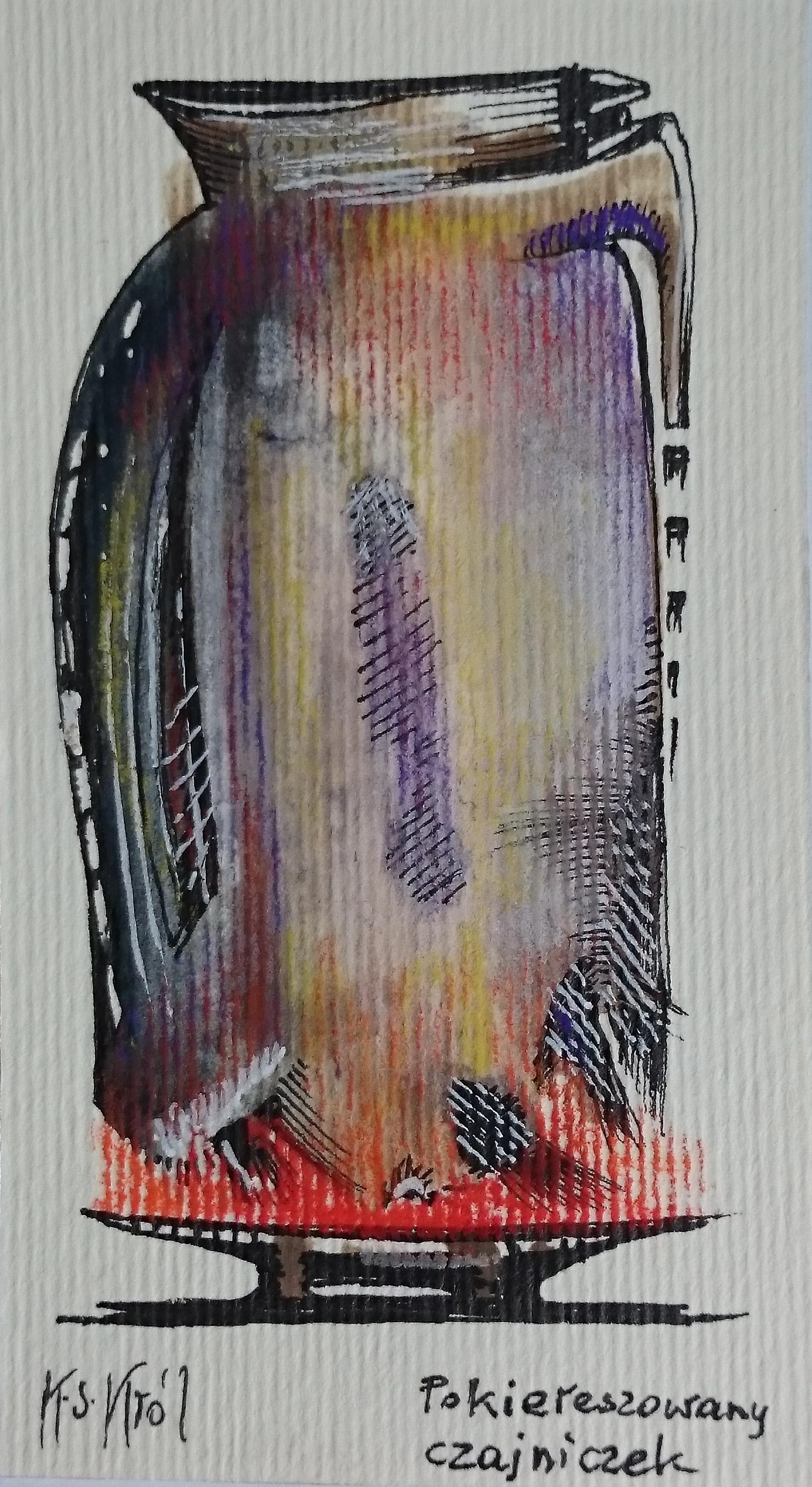4320 Pokiereszowany czajniczek temp.,tusz, pastel, 9x5