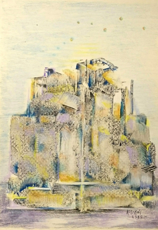 4385 Kasjopeja z komina, tempera, pastel 23x17