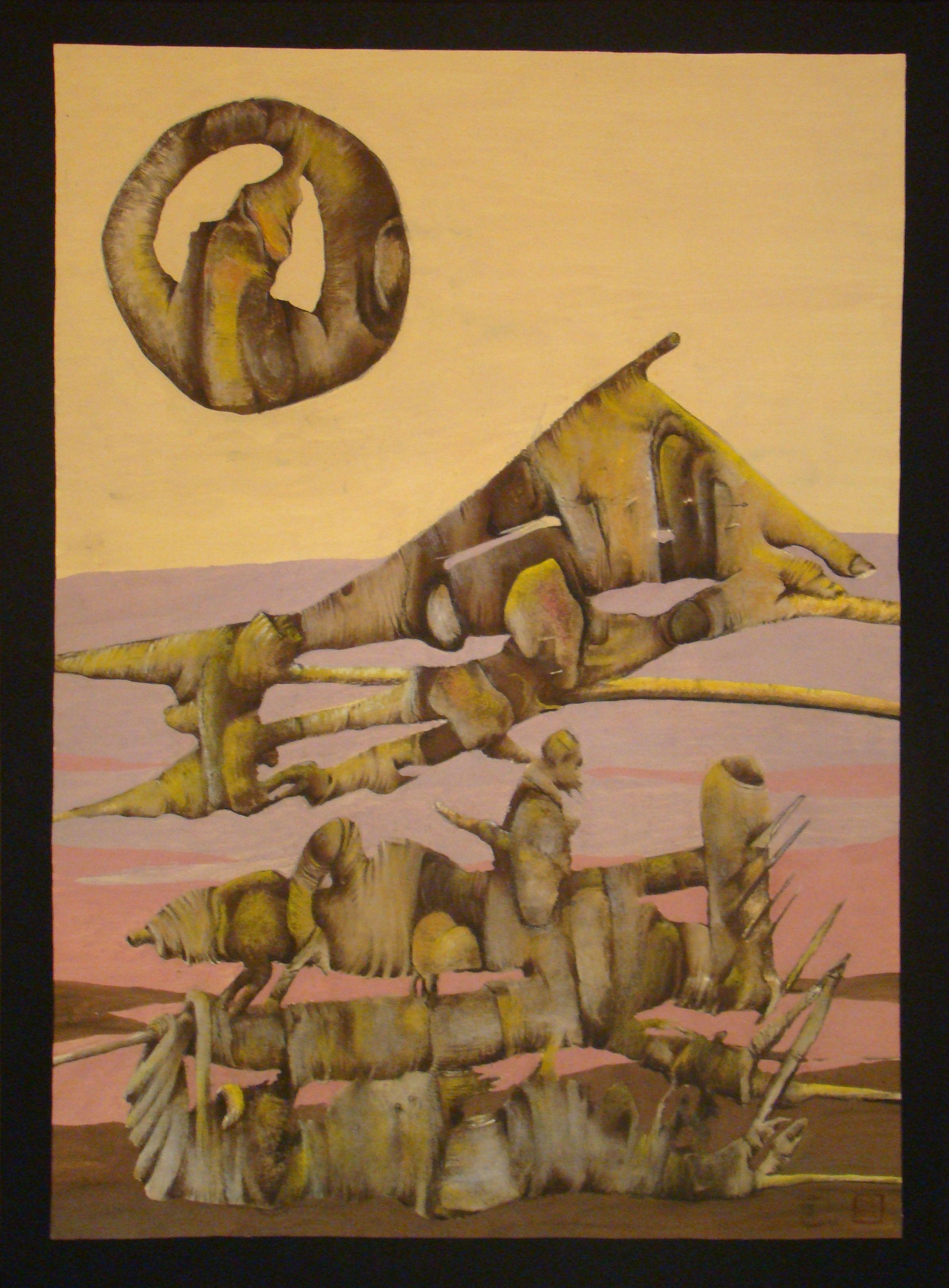 K.S.Król, 278,Traper, tempera, pastel, 100 x 70 cm